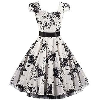 Pretty Kitty Fashion 50s Weiß Schwarz Blumen Cocktail Tee Kleid S