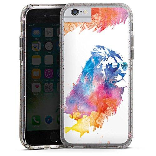 Apple iPhone 8 Bumper Hülle Bumper Case Glitzer Hülle Lion Wasserfarbe Watercolour Bumper Case Glitzer rose gold