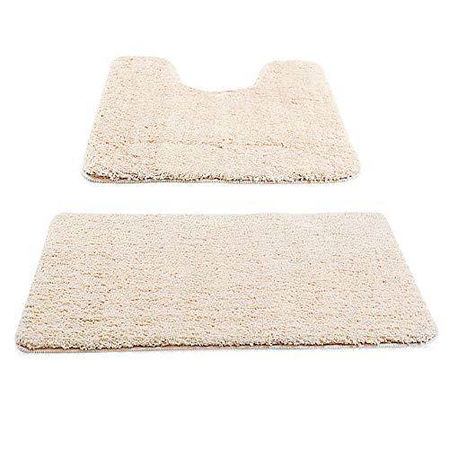 New Power Badematte Waschmaschinenfest Badezimmerteppiche für Dusche Wasserabsorbierend Weich aus Mikrofasern-Beige.