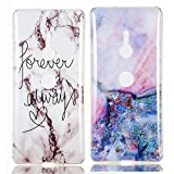 YKTO Custodia Sony Xperia XZ3 6.0 Pollici 2018 Marmo Colorate Effetto Cover Ultra Sottile Morbida Silicone Case Brillantini [2 Pack] Belle Anti Scivolo Antiurto Colore Caso Posteriore Fata Magica