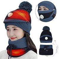 DaMohony USB Verwarmde Hoed & Sjaal Set, Winter Warmer Fleece Gevoerde Warm Gebreide Hoed Circle Loop Sjaal Nek