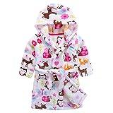 Kinder Bademantel mit Kapuze Nachthemd, Jungen Mädchen Niedlich Handtuch Pyjamas Flanell Nachtwäsche Robe Karikatur Schlafanzüge Hausmantel