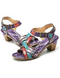 8f359a99f41 gracosy Sandalias Cuero Verano Mujer Estilo Bohemia Zapatos de Tacón Medio  para Mujer de Dedo Sandalias Talla Grande 37-42 Chanclas…