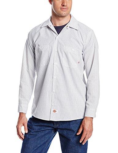 Dickies Littmann Workwear ll535wcs Polyester/Baumwolle Herren Long Sleeve Industrial Work Shirt, weiß und anthrazit Streifen, XL, White and Charcoal Stripe, 1 Xl Workwear-snap