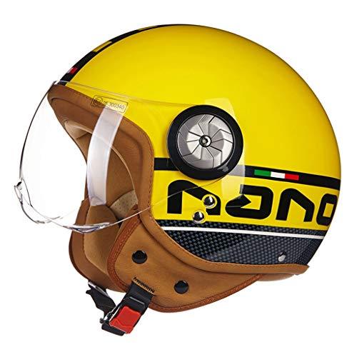 ZJJ Helm- Halbüberdachter Helm, optionaler Mehrfarben- und Multi-Größen-Helm, Regen- und UV-Schutzhelm, HD-transparente Linse (Farbe : Gelb, größe : XL)