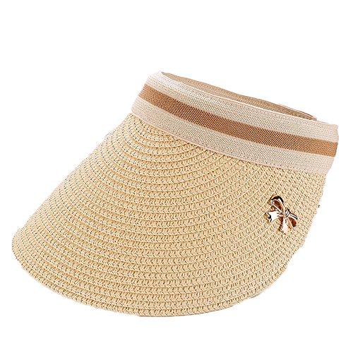 Casquette Visière de Paille Chapeau de Soleil Bord Grand Couleur Uni Respirant pour Eté-Natural Color