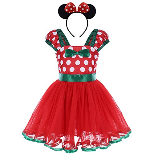 Infant Baby Toddlers Girls Christmas Polka Dots Leotard Birthday Princess Bowknot Tutu Dress Xmas Cosplay Pageant Cute Mouse Dress up Fancy Costume Party Outfits with 3D Ears Headband