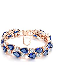 Lavishya Exclusive Luxuria Sparkling Blue Top Quality AAA Swiss Cubic Zirconia Rose Gold Bracelet For Women/Girls