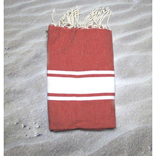 bbqplus Malediven Rouge–100% Baumwolle Handtuch Fouta Hammam, 100cm x 200cm, wahrscheinlich das vielseitigste Handtuch, die Sie jemals kaufen für sich selbst oder ein Geschenk macht. Ideal für den Strand, Bad, Schwimmen Handtuch + mehr.