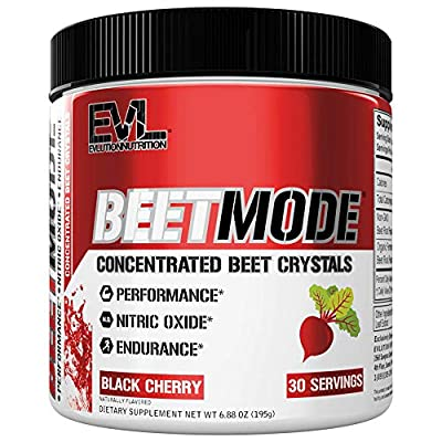 Evlution Nutrition Beet Mode, Concentrated Beet Root Crystals, Nitric Oxide Booster, Vegan, Non-GMO, Black Cherry (30 Servings) from Evlution