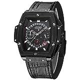 GFR Quarz Armbanduhr Multifunktions Datumsanzeige Mode Lederarmband Wasserdicht Armbanduhren, black