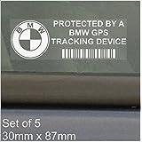 Platinum Place Adhesivos de seguridad para ventanillas de automóvil, para disuadir a posibles infractores, advertencia de sistema de rastreo BMW, 87 x 30 mm