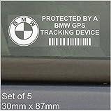 5 x BMW GPS/GPRS-Ortung Sicherheit Fenstertattoo 87 x 30 mm, 3, 4, 5, 6, 7, E, F, G, M, für Auto, Van Alarm Tracker