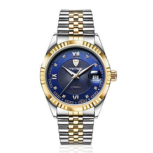 Pudincoco TEVISE 629-003 Edelstahl Armbanduhr Mechanische Wasserdichte Armbanduhr (Gold & Blau)