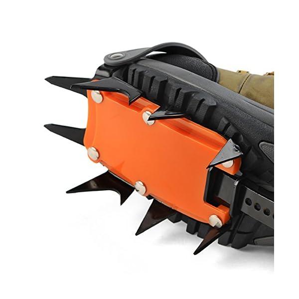 Docooler 14 Puntos Pinzas Dentadas Crampones Escalada en Hielo de Acero al Manganeso Crampón Dispositivo de Tracción (Naranja) 5