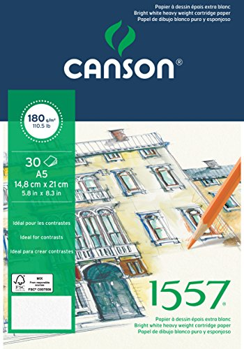 Canson 204127413 1557 Zeichen-und Skizzenpapier, A5, rein weiß