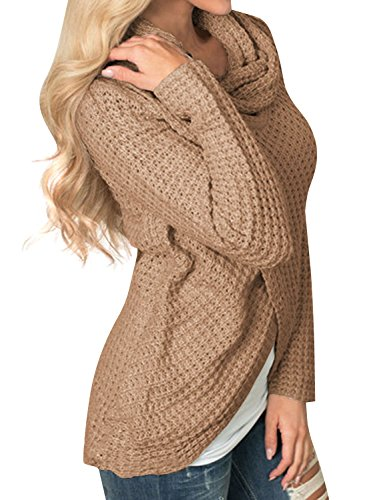 Nlife Women's Long Sleeve Cowl Neck Chunky Wrap Knit Cardigan Coat with Button Details Khaki