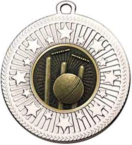 alisierte Medaille VF Star Cricket, 50 mm Durchmesser, silberfarben ()