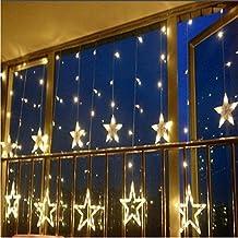 Misslight Cortina de luces LED Led Iluminación Luces Decorativas Interior Exterior Impermeables Cadena de Lámparas (amarillo)