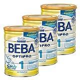 Nestlé BEBA Optipro 1, Säugling Milch, Babynahrung, Anfangsmilch von Geburt an, Dose, 3 x 800 g, 12344740
