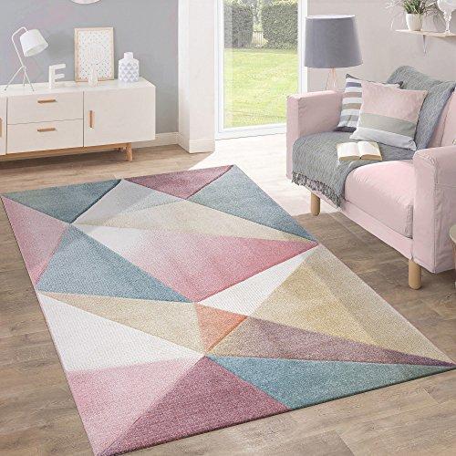 Tappeto pelo corto moderno alla moda pastello design geometrico ispirazione multicolore, dimensione:120x170 cm