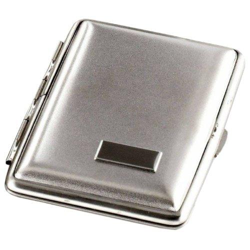 Kleines Zigarettenetui für 14 Zigaretten Nickel satiniert mit Gravurfeld / Normal-Format