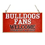 "Welcome Sign Bulldogs Fans Welcome Others Not Allowed Hanging Sign Red (10"" x 5"")"