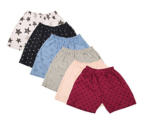 First Kids Step Babies Cotton Shorts (Di-Shorts-set6--9-12Months, Multi-Coloured, 9-12Months, Set of 6)
