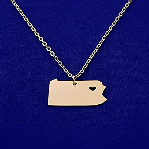 1pcs stainless steel map necklace,map charm,Stamping Blank Jewelry Supplies,hole diameter 1mm (Pennsylvania-PA, gold plated)