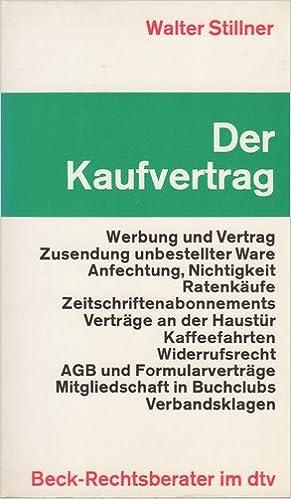 Der Kaufvertrag Amazonde Walter Stillner Bücher