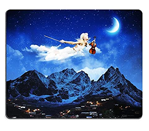 Liili Mouse Pad Natural Rubber Mousepad IMAGE ID: 25000261 Young blond girl flying in night sky