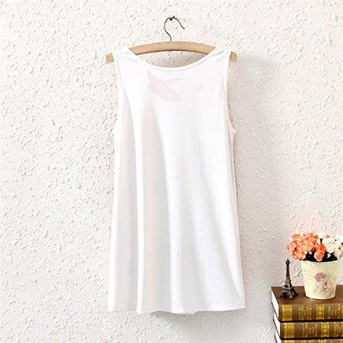 YICHUN Femme Fille Eté Débardeur Gilets T-Shirt Sans Manche Tops Camisole Tunique Robe Paon 6#