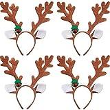 Tatuo 4 Pieces Reindeer Antlers Headband Headwear Christmas Headband for Christmas Party