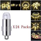 LED Ballon Lichter, PChero 24-Pack Mini LED Batteriebetrieben Nicht-Blinzeln Party Lichter für Ballons (Warmweiß)
