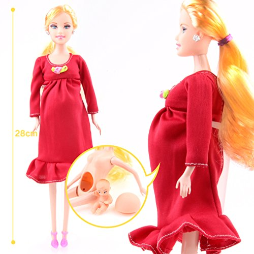 VWH Pregnant Doll Mom Doll Have A Baby In Her Tummy Attractive Barbie Toy For Kid Child (rose red)