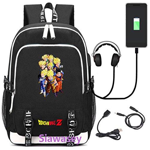 Siawasey Dragon Ball Z Anime Cosplay Rucksack Daypack Schultasche Laptop Schule Tasche mit USB-Ladeanschluss (Ball Z Computer Dragon)