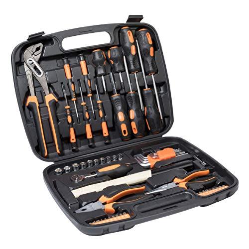 Ribelli 57-teilig Werkzeugkoffer, Werkzeugset ideal für den Haushalt oder die Garage, Universal Werkzeugkiste, Werkzeugkasten für den Haushaltbereich