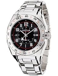 Sector - R3253660025 - Race GMT - Montre Homme - Quartz Analogique - Dateur - Bracelet Acier - Dateur - Cadran Noir - 3 Aiguilles