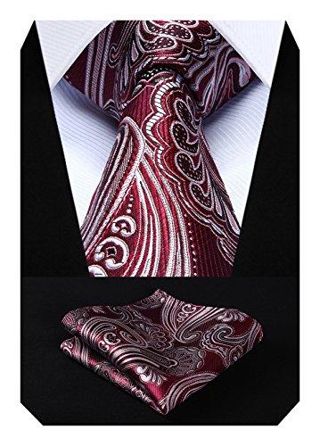 Hisdern Herren Krawatte Blumen Paisley Krawatte & Einstecktuch Set Burgund und Grau