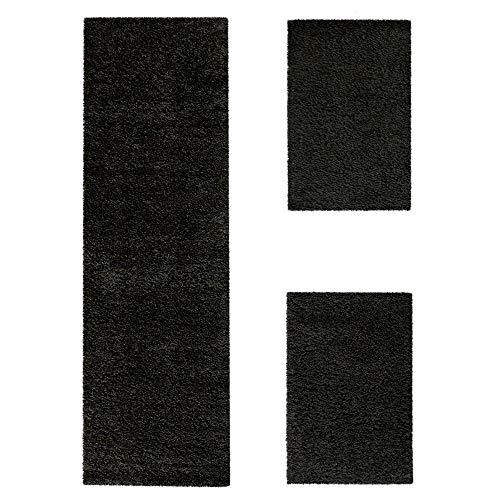 Bettumrandung Läufer Shaggy Hochflor Langflor Teppich in Schwarz Läuferset 3 Tlg, Grösse:2mal 70x140 1mal 70x250