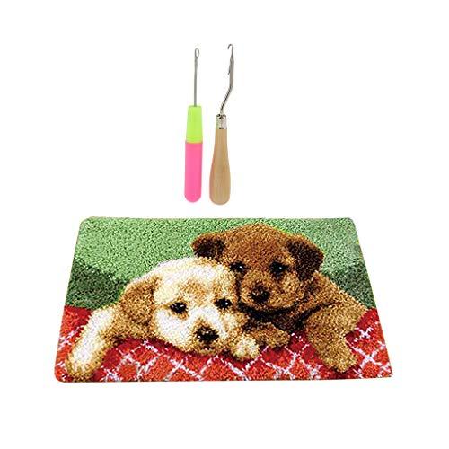perfk Knüpfteppich Hund DIY Handwerk Knüpfpackung zum Selber Knüpfen Teppich mit Flechtnadel für Kinder, Erwachsene, 50x30cm -
