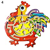 Kids Wooden Butterfly Rooster Magnetic Perlen Maze Ball Track Educational Toy