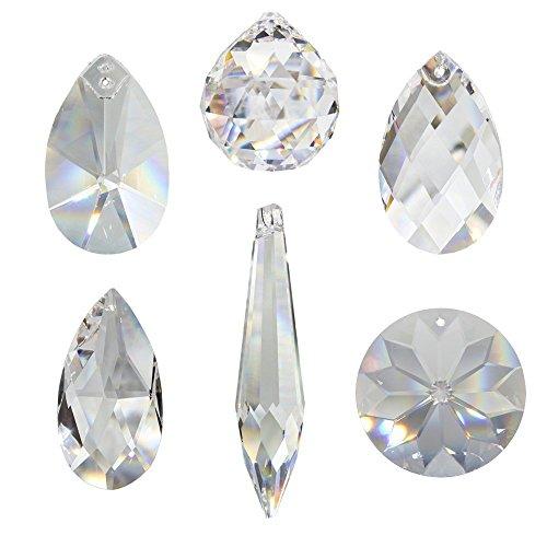 Kristall Sonnenfänger 6er Set zum aufhängen als Fensterschmuck und Raumpendel Waldorf Feng Shui Regenbogen-kristalle Kristallglas 30% Bleikristall Mobiles Set-A