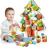 Fansport Perline per bambini Toy Christmas Tree Stringing Allacciatura perline educativo giocattolo di legno