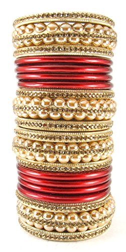 Sukriti Rajasthani Bridal Golden Maroon Lac Chura Bangles for Women - Set of 20