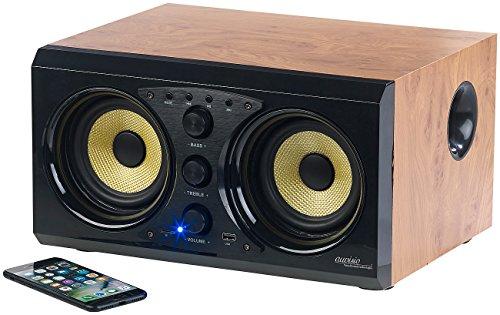 auvisio Bluetooth Lautsprecher: 2.0-Soundsystem im Holzgehäuse, Bluetooth 3.0, Musik-Player, 60 Watt (Aktiv Lautsprecher mit Bluetooth)