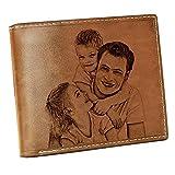 Klassische Herren Faltbare Geldbörse Benutzerdefinierte Foto Geldbörse Mode praktisch(Braune Doppelseite)