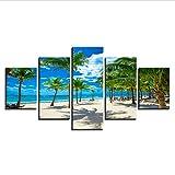 zhfq 200 * 100KreuzstichLeinwandmalereidekorative Home Wandkunst Modulare 5 Stück Hd Print Palme Und Strand Leinwand Malerei Summer Resort Seascape Bild-100Cm Frame