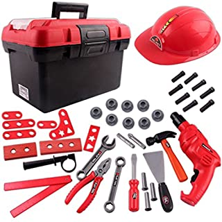 deAO Workshop Toolbox Play Set with Portable Case, Toy Tools, Battery Operated Drill and 38 Accessories Included