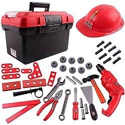 deAO Set de boîte à Outils transportable avec Outils, perceuse électrique et 38 Accessoires Inclus